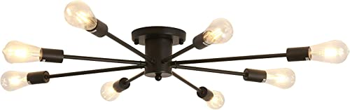 8-Lights Ceiling Light,Metal Semi Flush Mount Chandelier