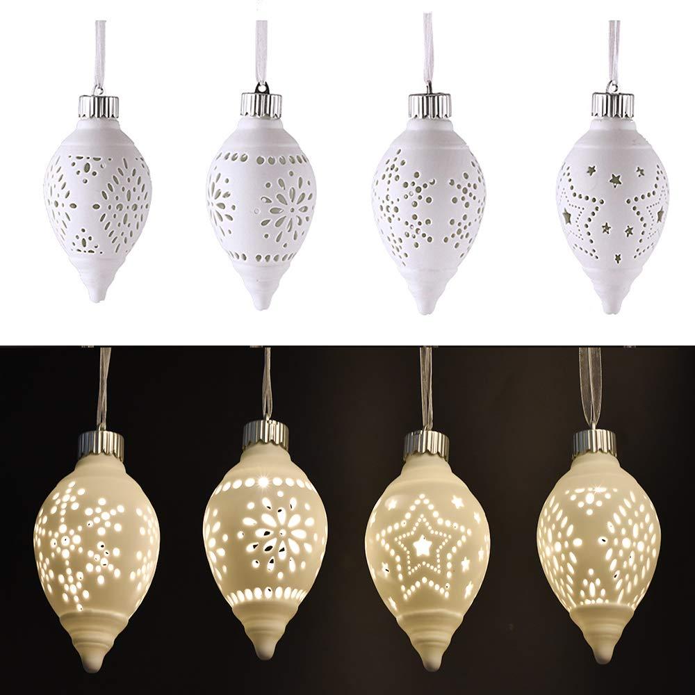Victor's Workshop 4 Pezzi palline natalizie bianche in ceramica da appendere Ornamenti natalizi Natale a forma di albero con sfere di luce Decorazione con fiocco di neve, stelle, renne e motivo ad albero, 8 * 8 * 10CM Victor' s Workshop