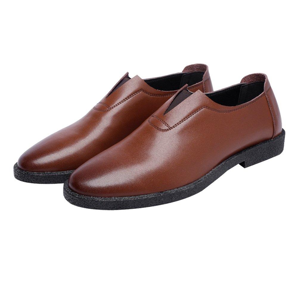Ruiyue Herren Freizeitschuhe Matte Echtleder Loafers Slip-on Breathable Spitz Toe Oxfords  38 EU|Brown