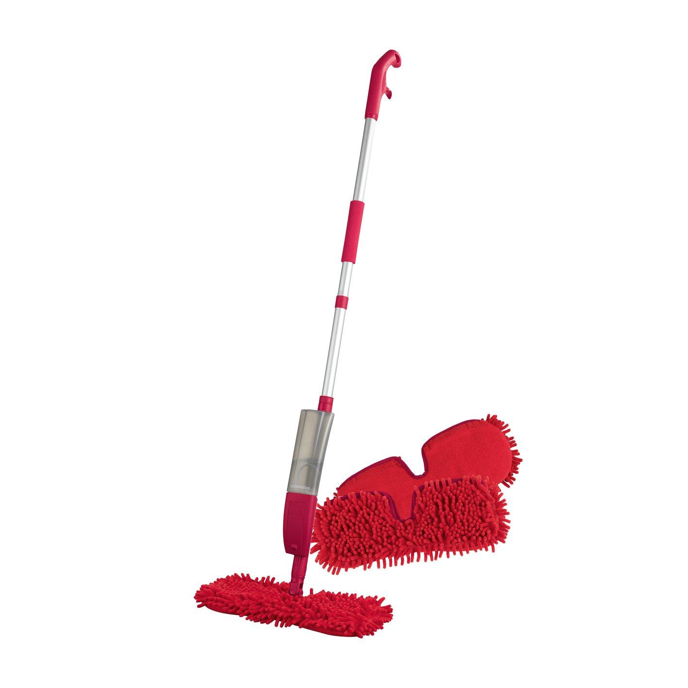 Ersatzmopp set für Spray-Mopp flexibel rot ( Praktischer Wende-Mopp zur Nass- und Trockenreinigung ) (2er Ersatzmopset) CLEANmaxx 07840100200