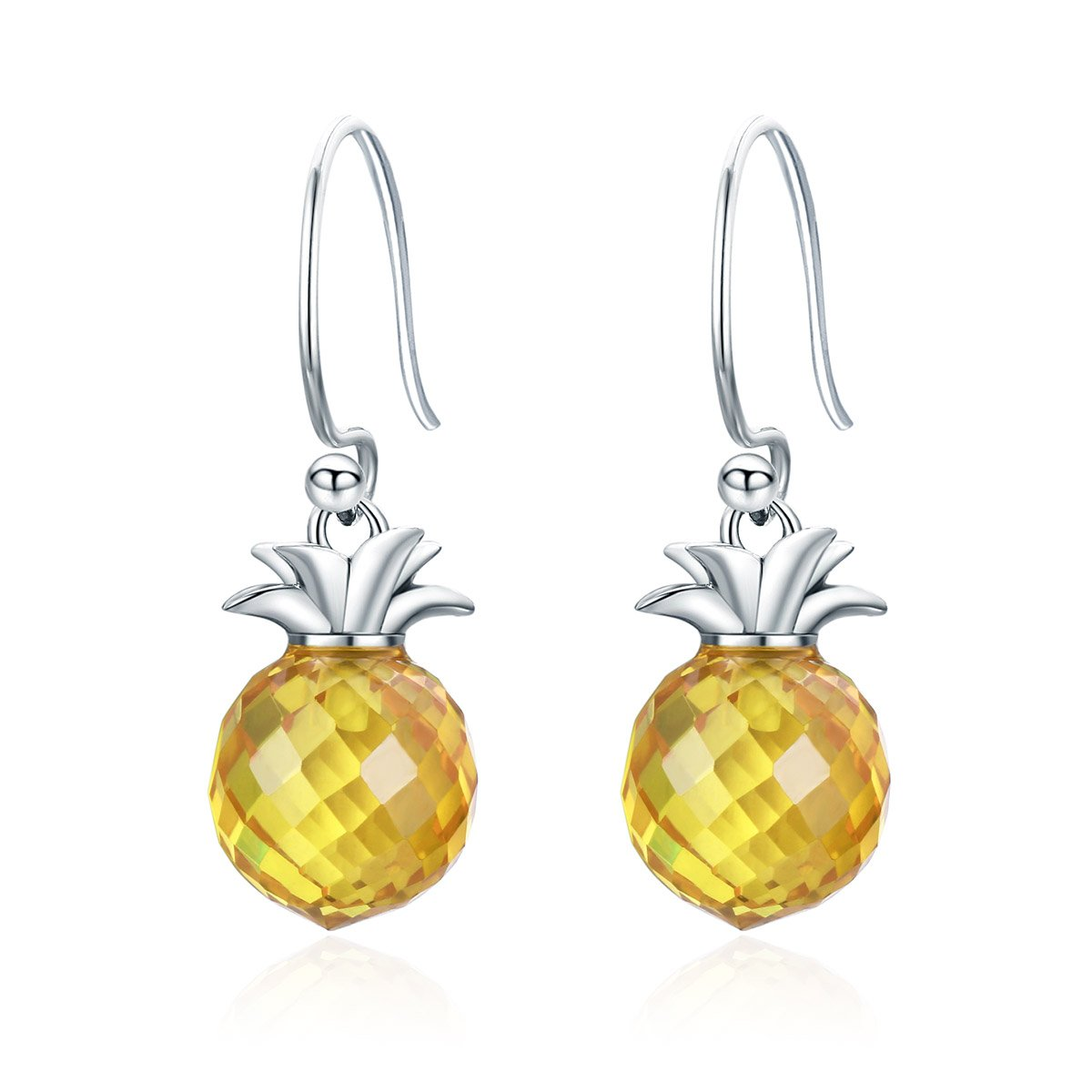 Everbling Pineapple Crystal Hanging 925 Sterling Silver Dangle Earrings