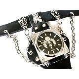 パンク ブレスレットタイプ スカル/ドクロ 本革 ベルト クォーツ腕時計