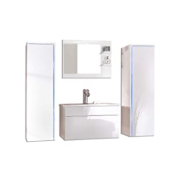 Home Deluxe Badmöbel Set Sylt Weiß Inkl Waschbecken Und