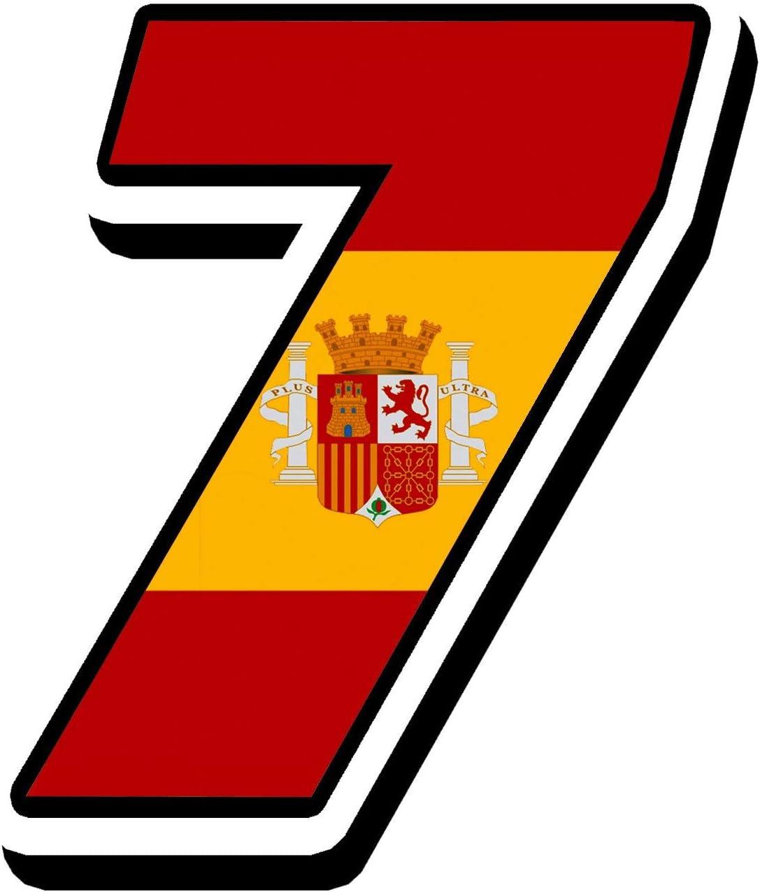 Biomar Labs® Número 7 Bandera Nacional España Spain Calavera Vinilo Adhesivo Pegatina Coche Auto Motocross Moto Sport Start Racing Tuning N 287: Amazon.es: Coche y moto