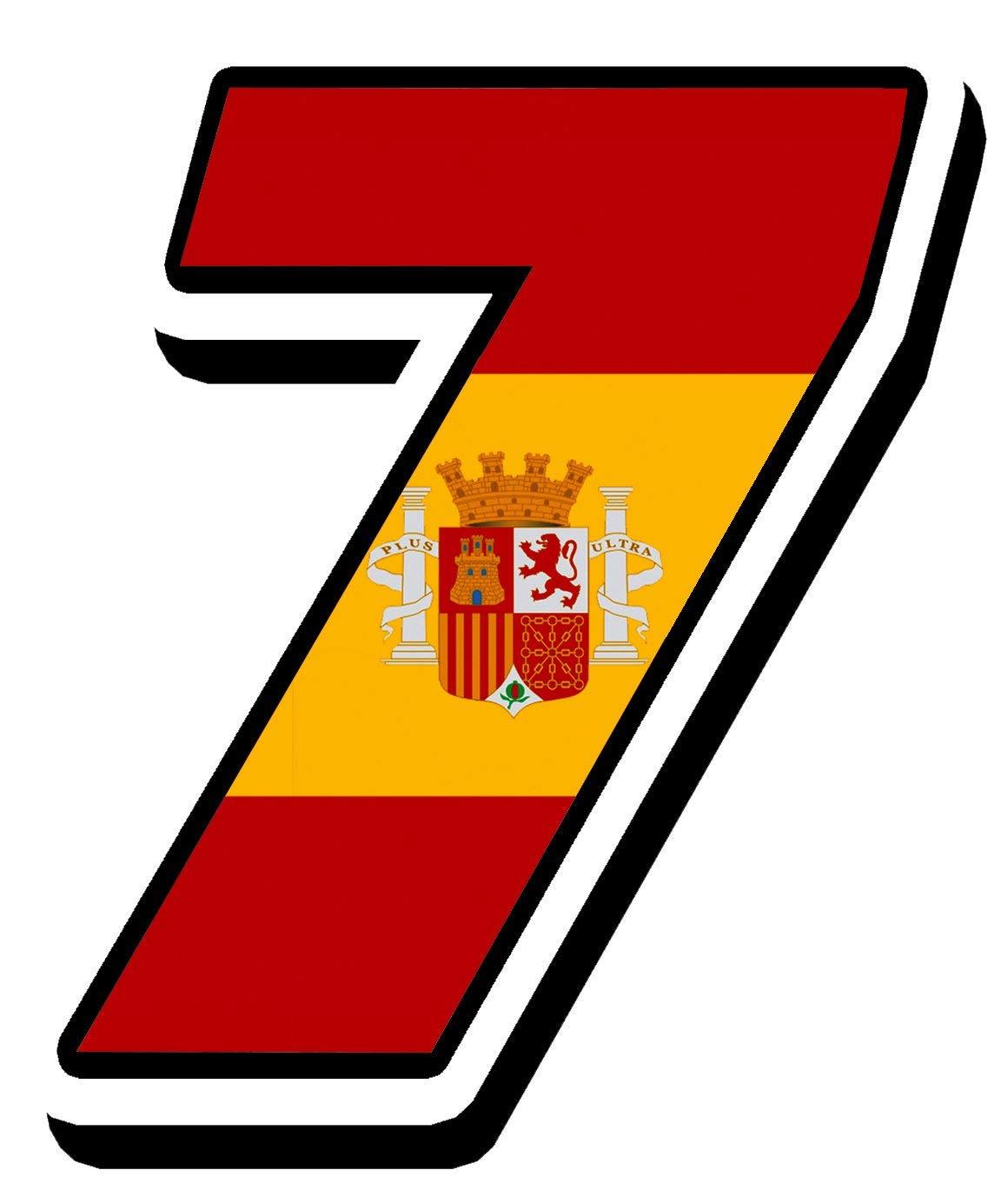 Biomar Labs/® N/úmero 7 Bandera Nacional Espa/ña Spain Calavera Vinilo Adhesivo Pegatina Coche Auto Motocross Moto Sport Start Racing Tuning N 287