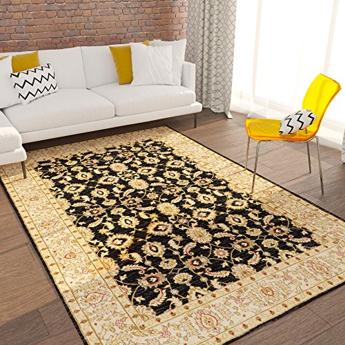 Home Way Turkish Antique Royalty Design Traditional Lotto Black Carpet Eclectic for Modern and Classic Interiors Oriental 8x10 [ 7'10