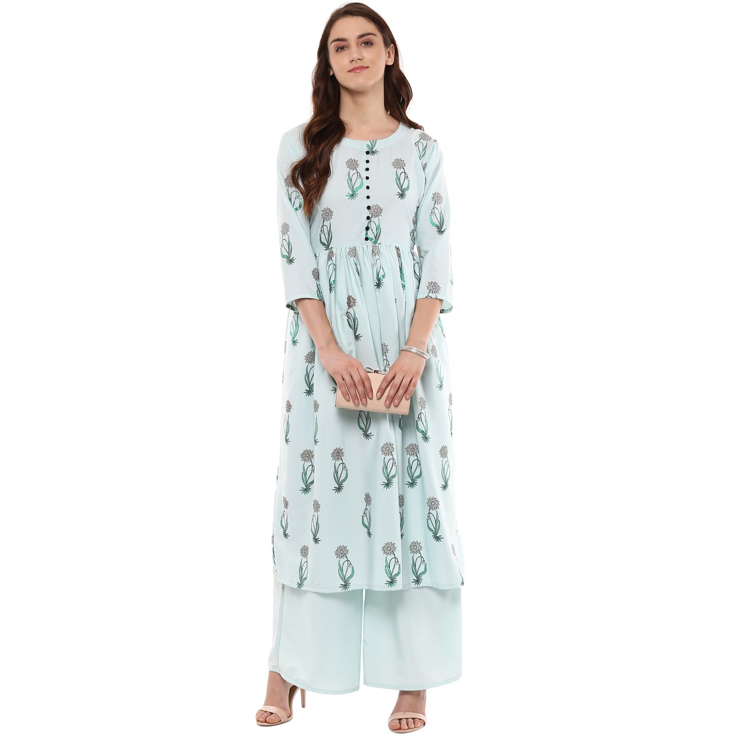 059ff8e80e8 Ziyaa women s Summer Blue color Flared Crepe Floral Print Kurta   Palazzo  Set (ZIKUCR2132ANDPL)  Amazon.in  Clothing   Accessories