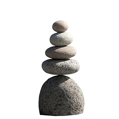 Natural River Stone Quintuple Rock Cairn 5 Stacked Zen Garden Pile Stone : Outdoor Decor : Garden & Outdoor