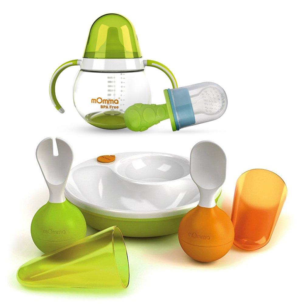 Lansinoh New mOmma Assiette Chauffante Kit dapprentissage Cuill/ère /& Fourchette STEH-Fonction sur /& Aspirateur Primamma Fruit vert