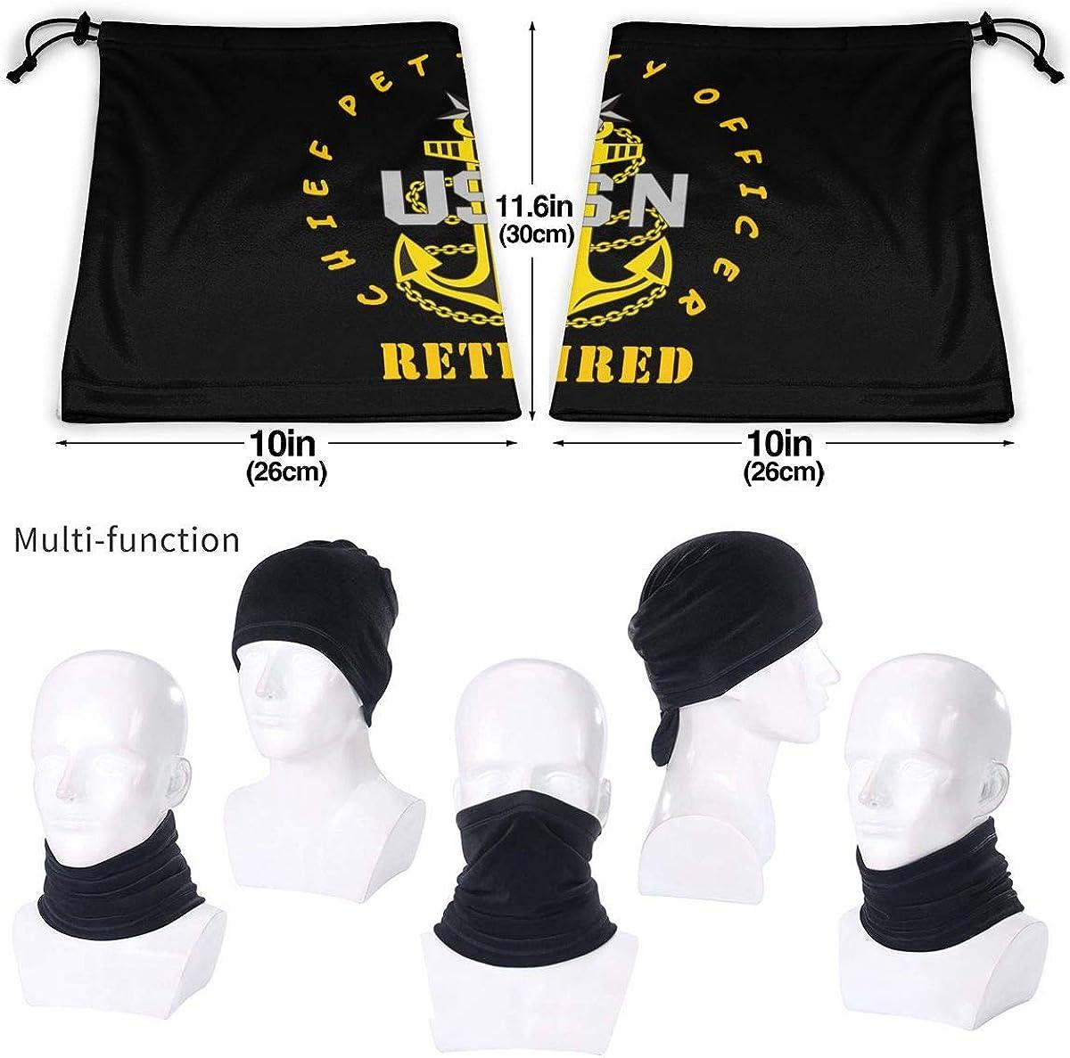 US Navy Senior Chief Petty Officer Retired Unisex Bandana Face Mask Warmer Neck Tube for Dust Wind Sun Protection