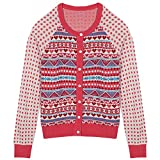 Blueberry Pet Women's Holiday Charm Fair Isle Style Cardigan Sweater In Sugar Coral