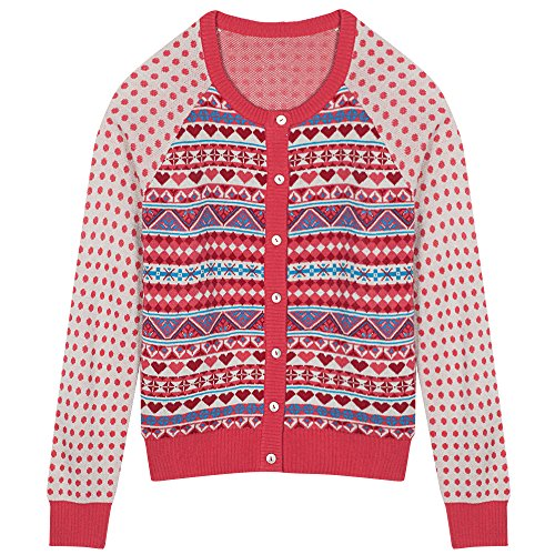 Blueberry Pet Women's Fair Isle Style Cardigan Sweater in Sugar Coral, Medium