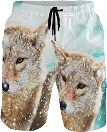 Bañador para hombre con bolsillos, diseño de lobo de ...