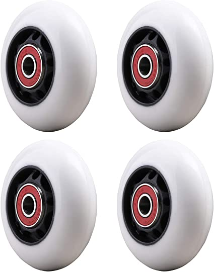 WHEELGOO 64mm Flashing Inline Skate Wheels Replacement Rear Compatible with Beginner Kids Razor PowerWing Caster Scooter,2-Pair