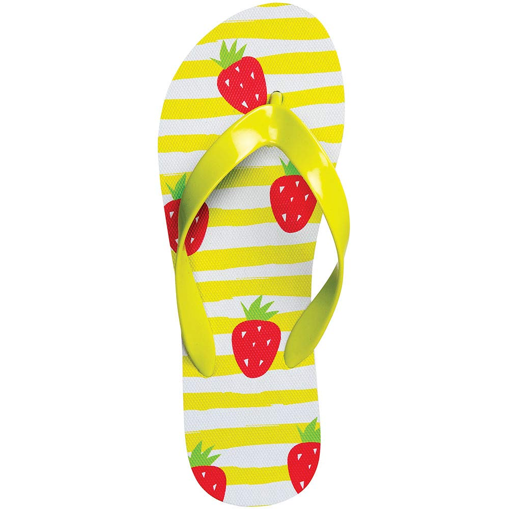 ForPro ISLAND Flip-Flops, Strawberry Shortcake, Comfortable Natural Rubber Beach, Pool, and Spa Wear, Women's Size 8
