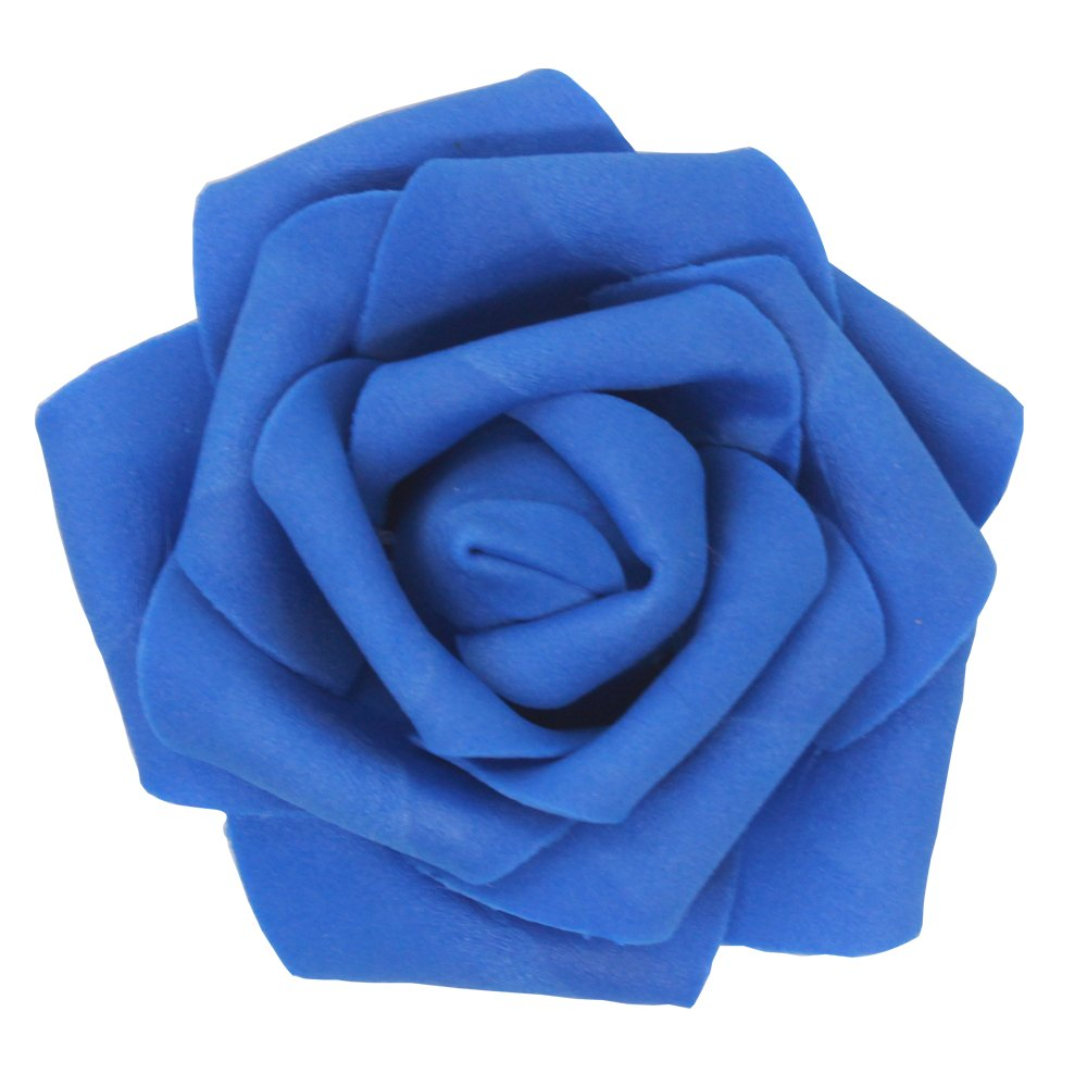 7cm DIY Real Touch 3D Artificial Floral Foam Roses Head Without Stem for Wedding Party Home Decoration-50pcs (Royal Blue)