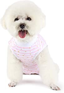 Etdane Small Dog Onesies Surgical Recovery Suit Abdominal Wounds Protector Post-Operative Shirt Pet E-Collar Alternative Vest for Home Outdoor