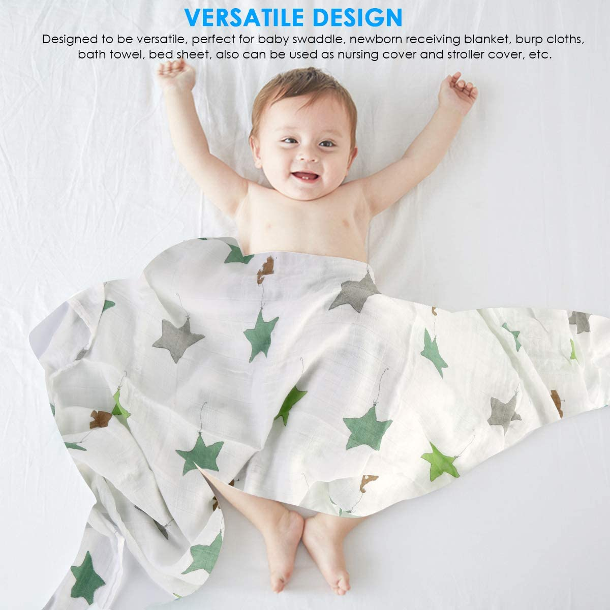 Blue whale Pre-washed 70/% Bamboo,30/% Organic Cotton Blend,Super Soft/& Breathable Blanket for Baby Shower Gift 47x47 Muslin Swaddle Blanket for Newborn Baby Bamboo Cotton Blanket
