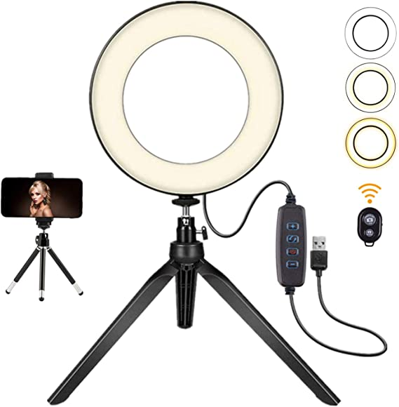 6 Without Desktop Stand Mini LED Camera Light LED Lamp with 3 Light Modes /& 11 Brightness Level LED Ring Light 6 with Tripod Stad for YouTube Video and Makeup