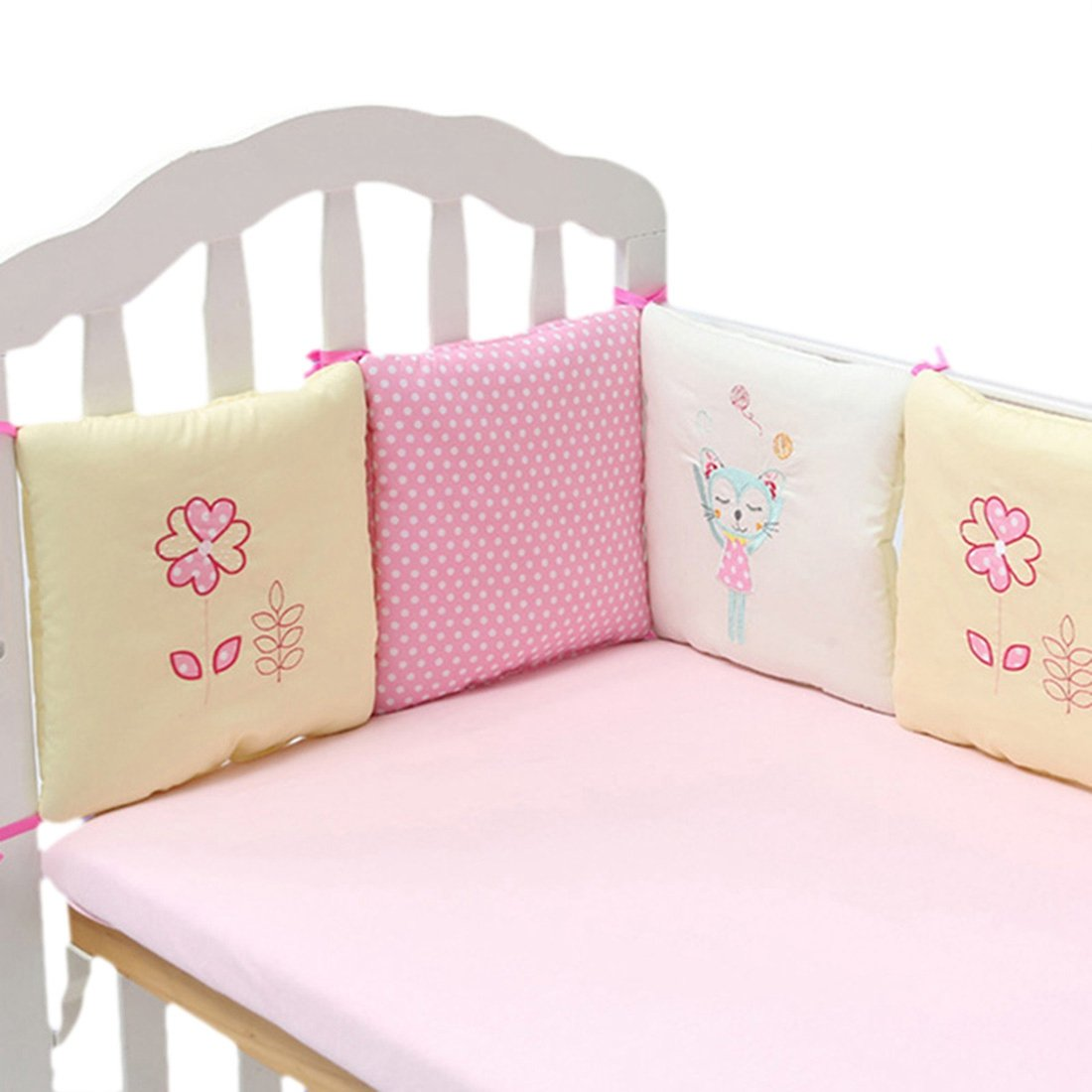 Jiyaru 6pcs Baby Bedding Bumper Cotton Cot Toddler Crib Nursery Bedding 30x30cm Pink