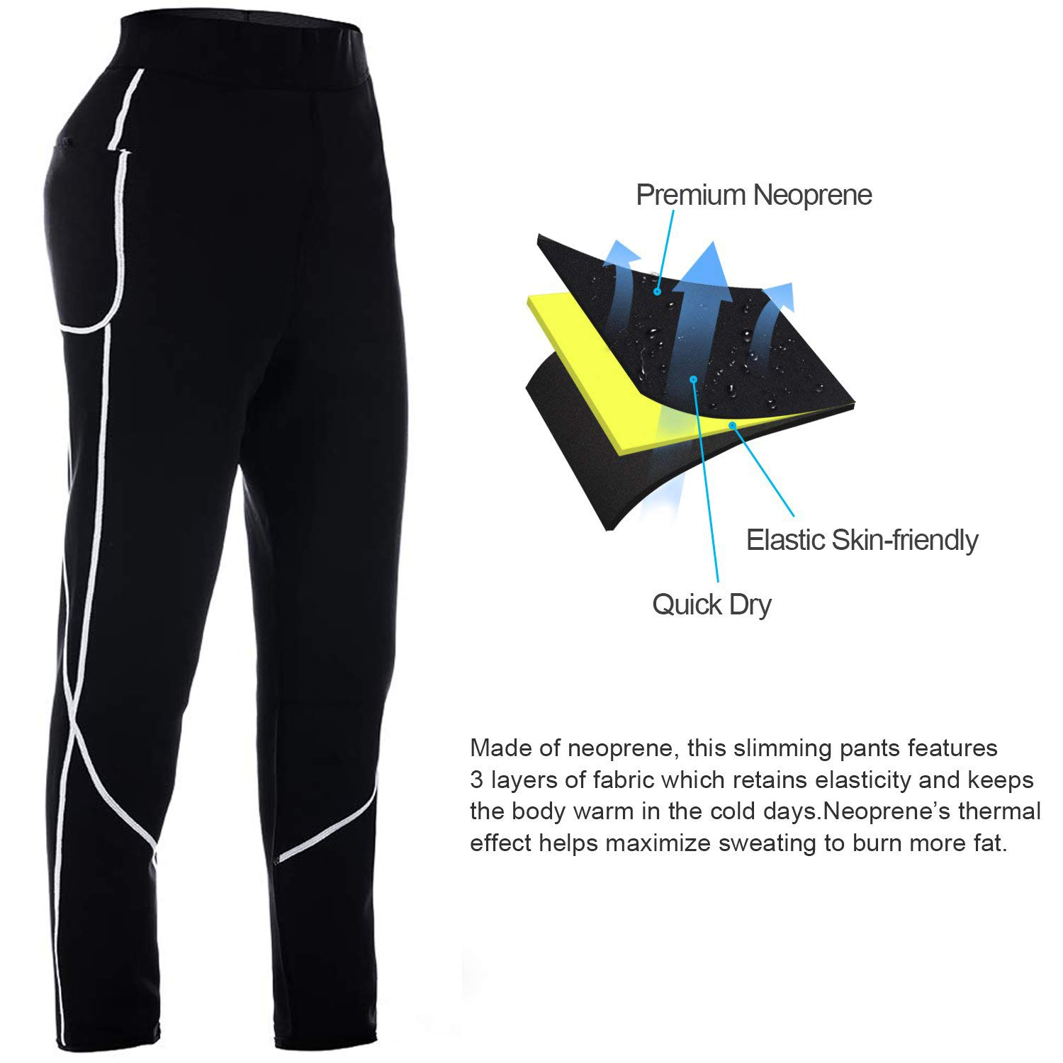 Women Sauna Weight Loss Pants High Waist Trainer Slimming Neoprene Pants with Pocket Hot Thermo Fat Burning Sweat Leggings