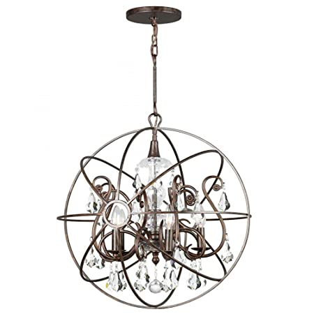 Crystorama 9026-EB-CL-MWP Crystal Accents Five Light Chandeliers from Solaris collection in Bronze Darkfinish,