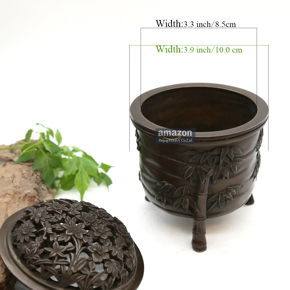 YONG HE XUAN Hand-Made Brass Incense Burner (Pine, Bamboo and Plum Blossom) Contain Incense Holder Net Weight: 1159g (Approx.) Chinese Classical Style Traditional Technology by YONG HE XUAN (Image #7)