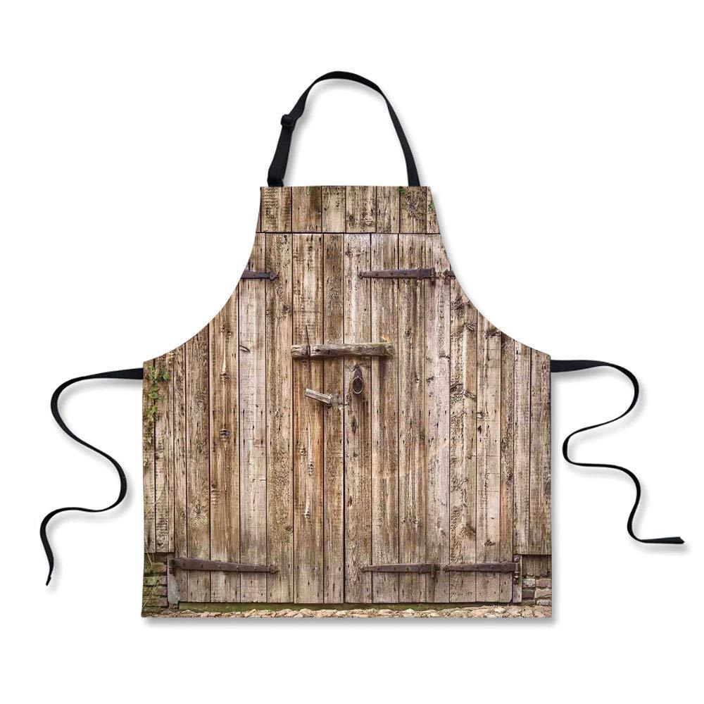 iPrint Custom Apron,Rustic,Old Oak Closed Garage Door with Steel Hinges Vintage Typical Cottage Doorway Image,Tortilla,Home Apron.29.5''x26.3''