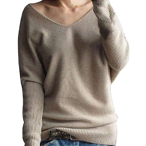 Rovinci Herbst Winter Damen Pullover Off Schulter Langarm Einfarbig Strickpullover One Shoulder Sweater Oberteile Sweatshirt Tops Loose Pulli Bluse