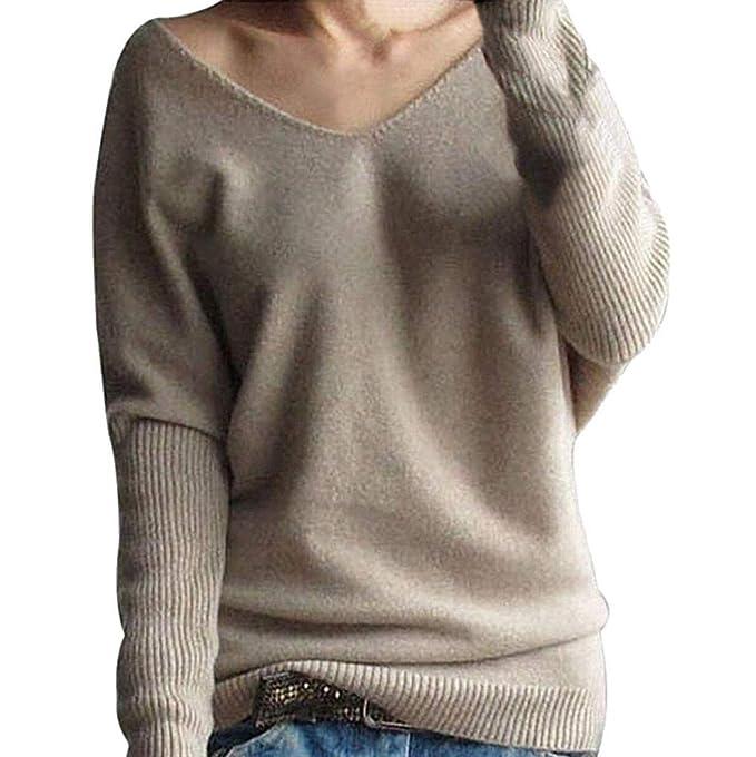 Rovinci Herbst Winter Damen Pullover Off Schulter Fledermaus Langarm  Einfarbig Strickpullover EIN-Schulter Sweater Oberteile e0e239ea8b