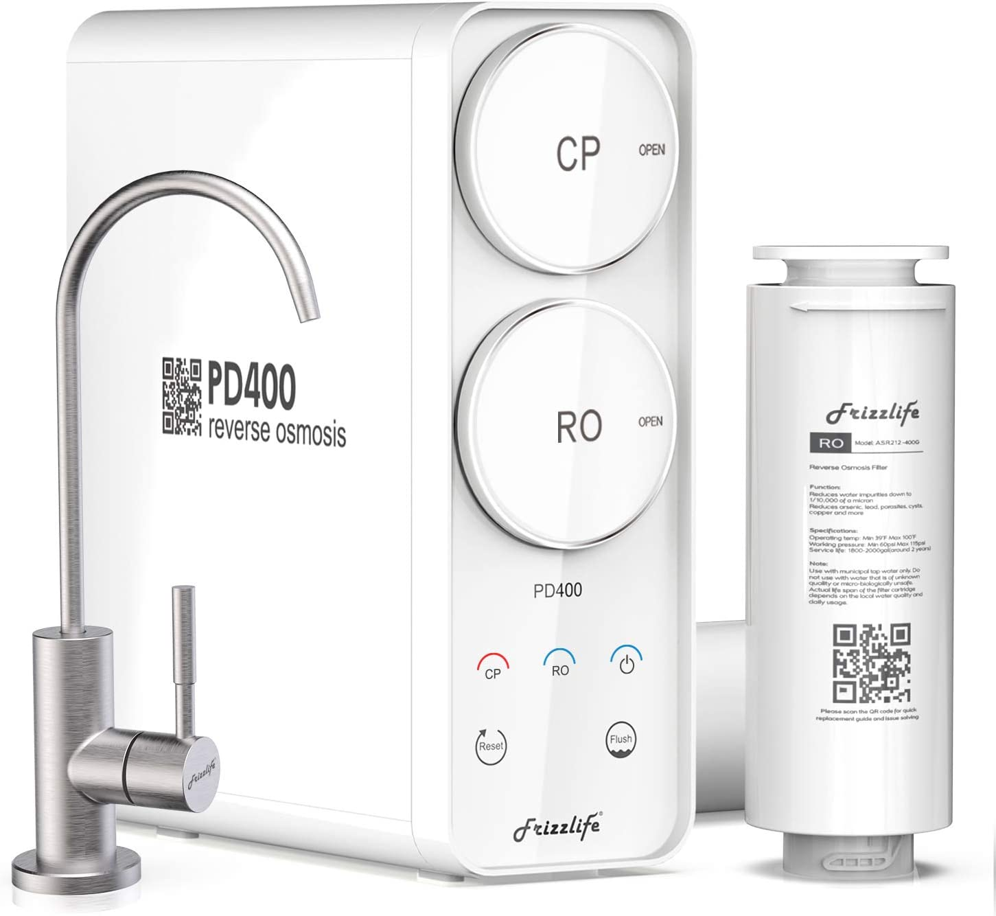 Frizzlife Tankless 400 GPD RO water filter