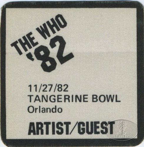 The Who 1982 Farewell Tour Backstage Pass Orlando Tangerine Bowl B-52S Joan Jett