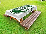 Lunarable Poker Tournament Outdoor Tablecloth, Let's Play Poker Stamp with Royal Flush Grunge Vintage Full House Retro, Decorative Washable Picnic Table Cloth, 58 X 104 inches, Green White