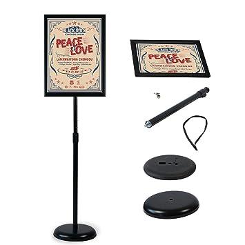 Soporte de pie para póster de pie con soporte para carteles, soporte para bodas, espectáculos, publicidad, etc, color negro A3