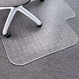 "Matladin Upgraded Heavy Duty 48"" x 36"" PVC Chair Mat for Carpeted Floors with Lip, 3mm Transparent Desk Chair Mat for Low Standard Medium Pile Carpet, Lipped Flooring Protector for Office Home"