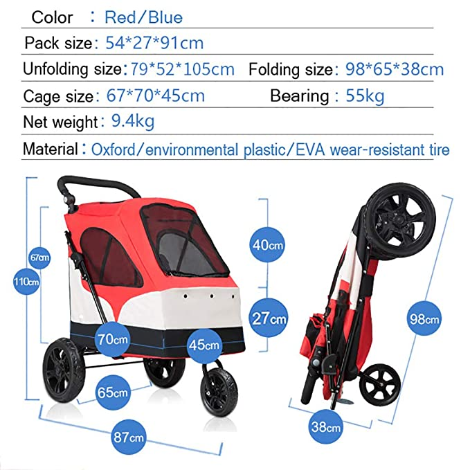 Amazon.com: DJLOOKK Pet Stroller Extra Large Pet Stroller Dog Trolley with Top Window Suitable for 15 – 55Kg (Red): Sports & Outdoors