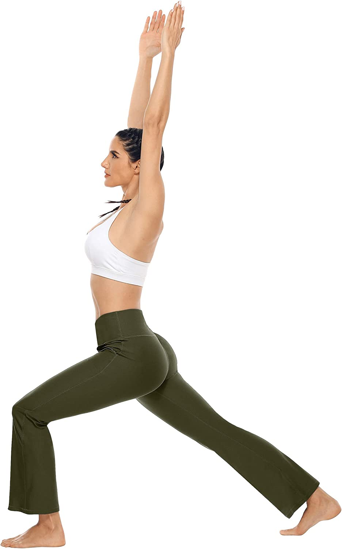 Anwell Damen Bootcut Hose High Waist Flare Lange Yogahose Bootleg Hose Sport Training Fitness Hose