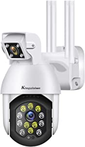 Dual Lens Wide Angle Outdoor Security Camera, Kingvision 1080P HD WiFi IP Pan Tilt Dome Camera Home CCTV Surveillance Cam, with Colorful Night Vision, Motion Detection