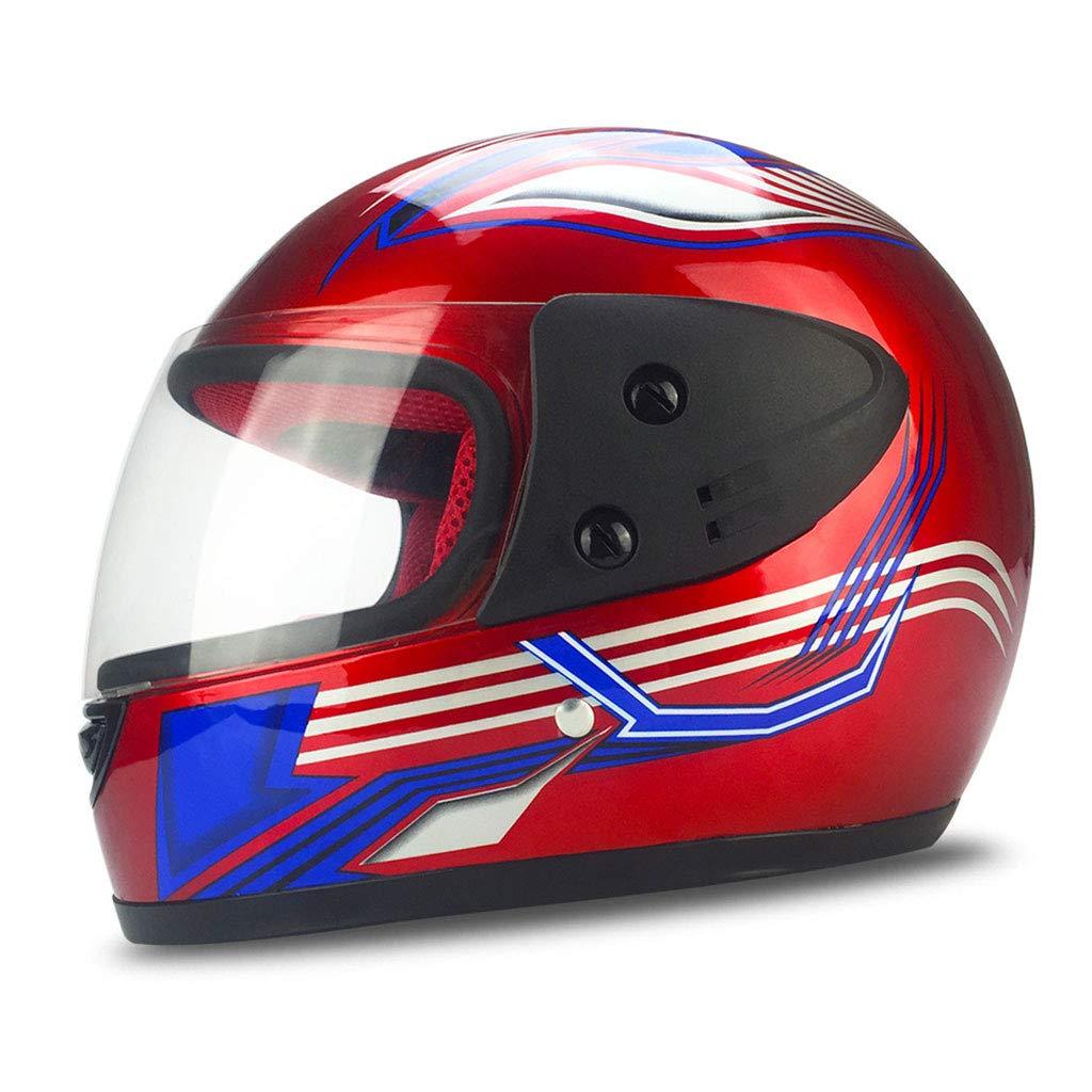 Sportschutzausrüstung- Radfahren Full Face Helm Multicolor Shade Off-Road Racing Schutzhelm (Farbe : ROT)