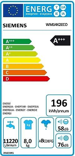Siemens WM14K2ECO Independiente Carga frontal 8kg 1369RPM A+++ ...
