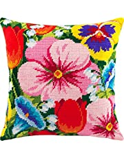 Needlepoint Kit. Throw Pillow 16×16 Inches. Printed Tapestry Canvas, European Quality