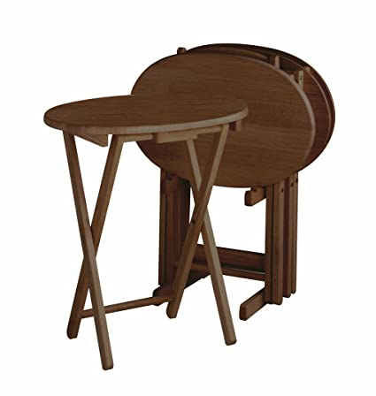 Amazon.com: Winsome Wood Oval TV Table 5-Piece Set: Kitchen & Dining