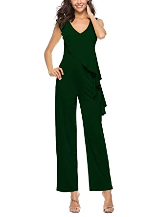 6d010ad0da0 Amazon.com  PrettySoul Womens Sexy V Neck Sleeveless High Waist Peplum  Ruffle Wide Leg Long Pants Jumpsuit Romper  Clothing