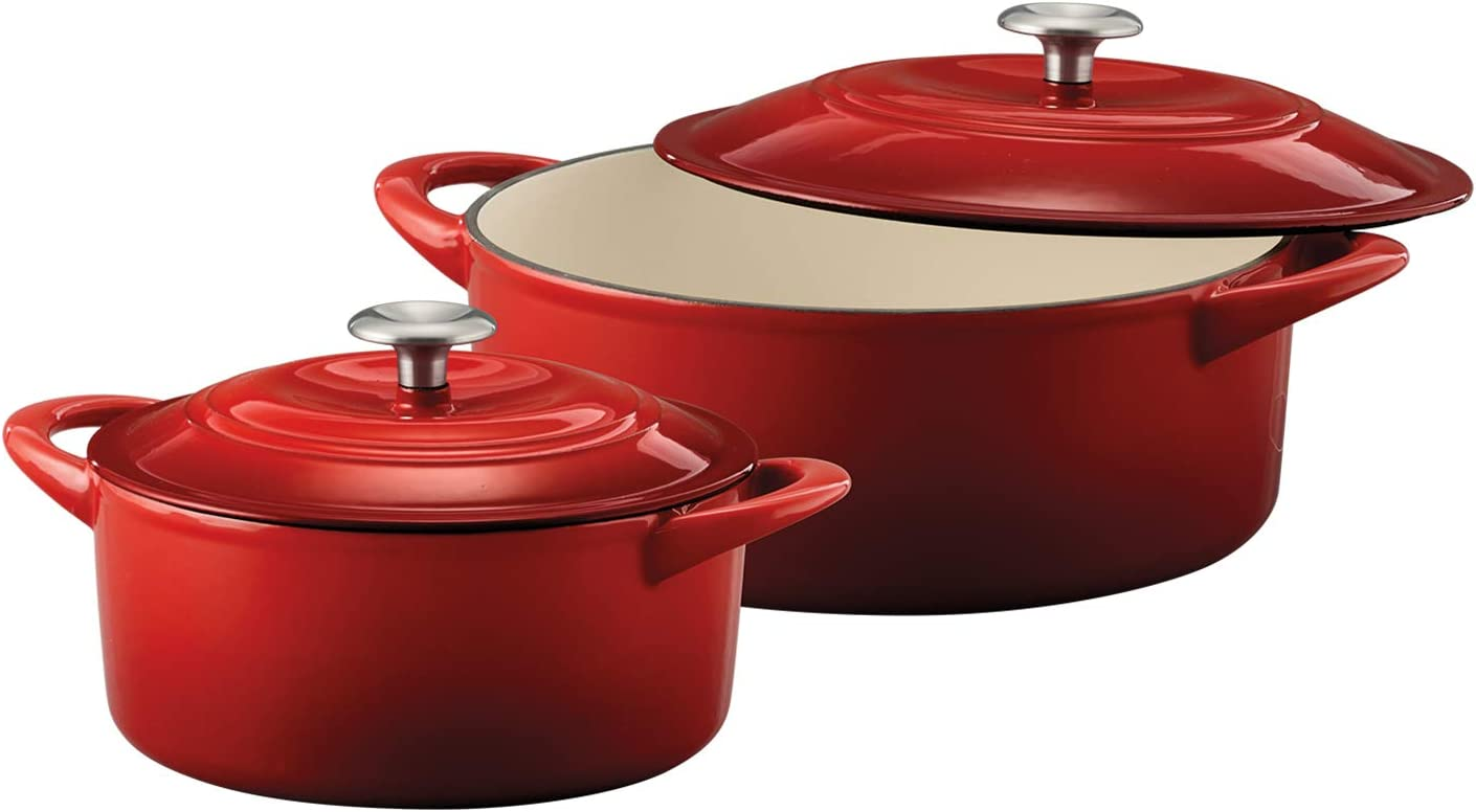 Tramontina 80131/648DS Enameled Cast Iron Covered Dutch Oven Combo, 2-Piece (7-Quart & 4-Quart), Gradated Red