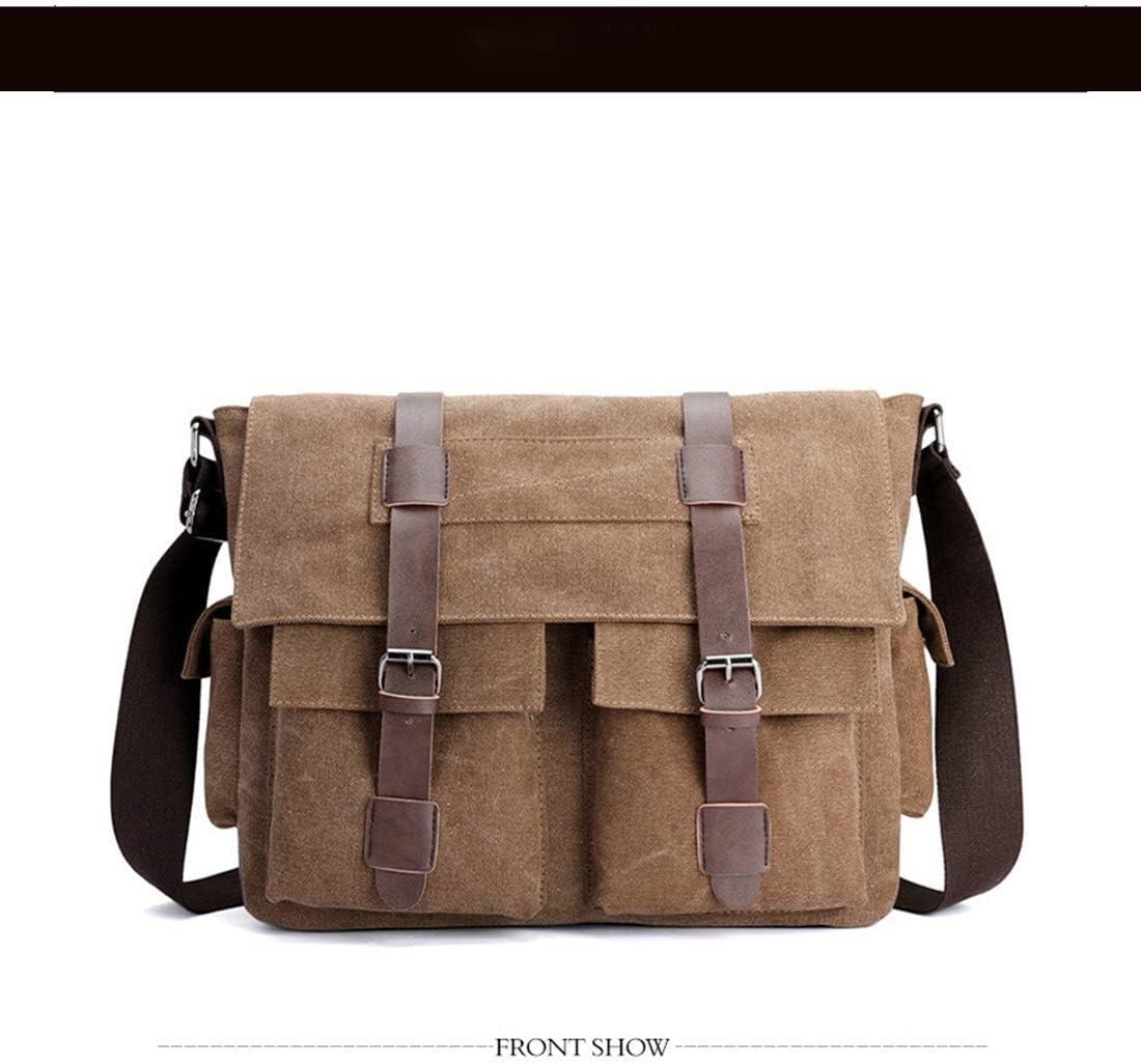 Color : Brown Male Bag European and American Ancient Canvas Male Postman Bag Bag Multi-Purpose Function Single Shoulder Canvas RABILTY Canvas Traveling Bag
