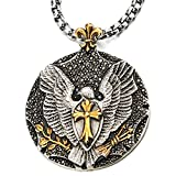 Mens Eagle Cross Pendant Necklace with Black Cubic Zirconia Steel Silver Gold