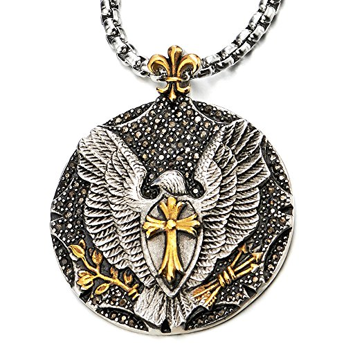Mens Eagle Cross Pendant Necklace with Black Cubic Zirconia Steel Silver Gold with 30 in Wheat Chain