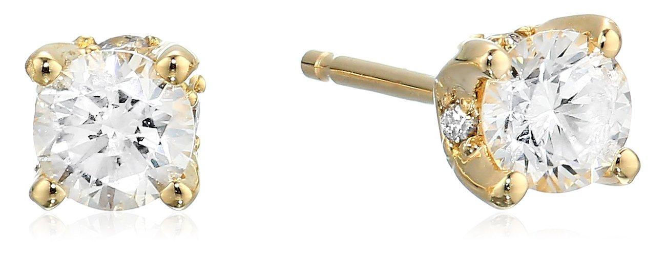 0.50 Carat Certified Diamond Earrings, 14K Yellow Gold (K-L Color, I1-I2 Clarity)