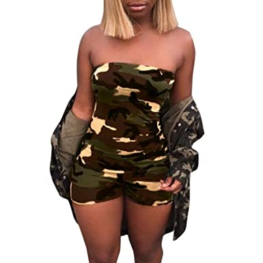 fe056ce3a4bb Jamicy Women Summer Fashion Camouflage Boob Tube Top Short Pants Jumpsuits  Rompers  Amazon.co.uk  Clothing