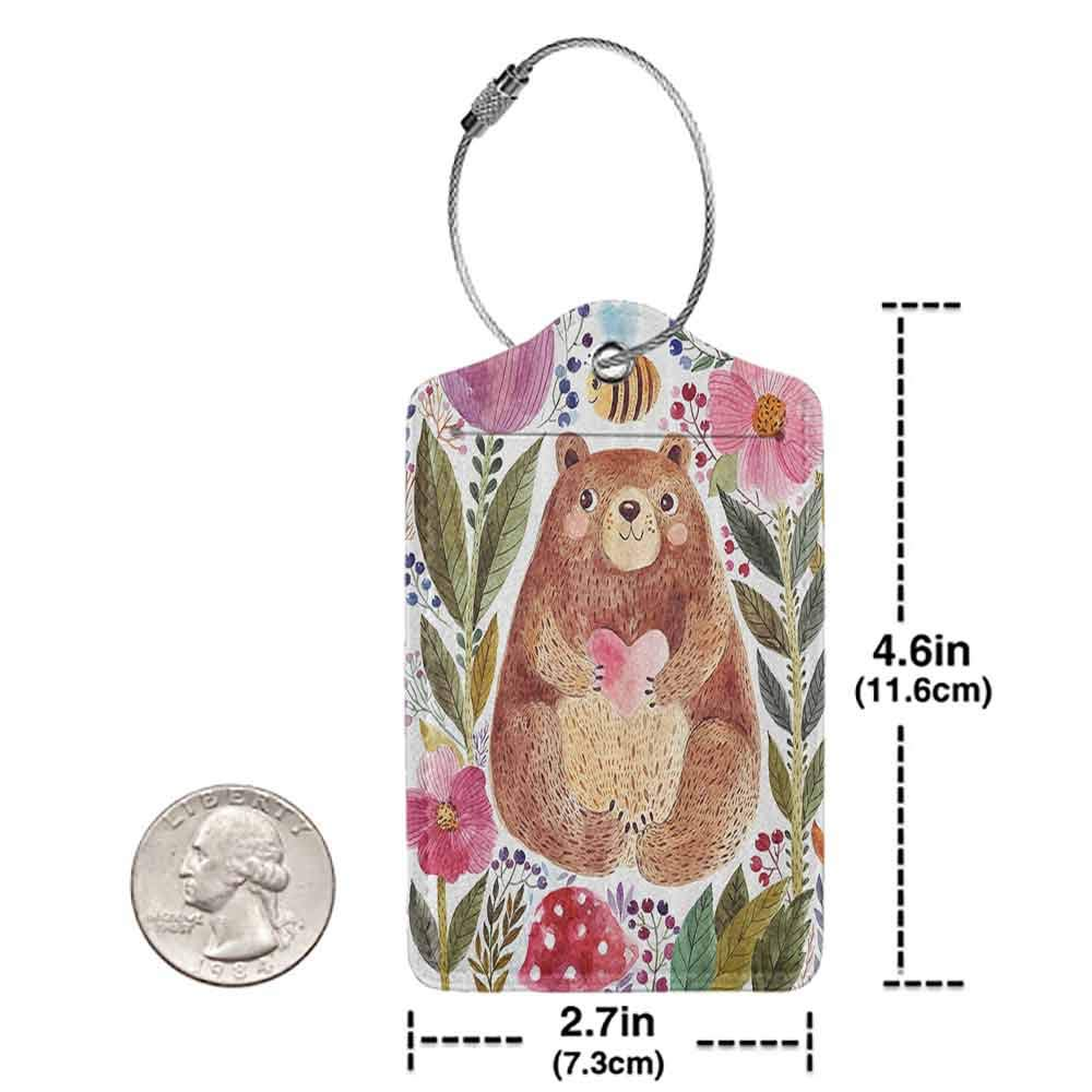 Personalized luggage tag Watercolor Flower Decor Modern Illustration Of Cute Bear With Flowers And Bee Animal Spirit Artsy Nature Easy to carry Multi W2.7 x L4.6